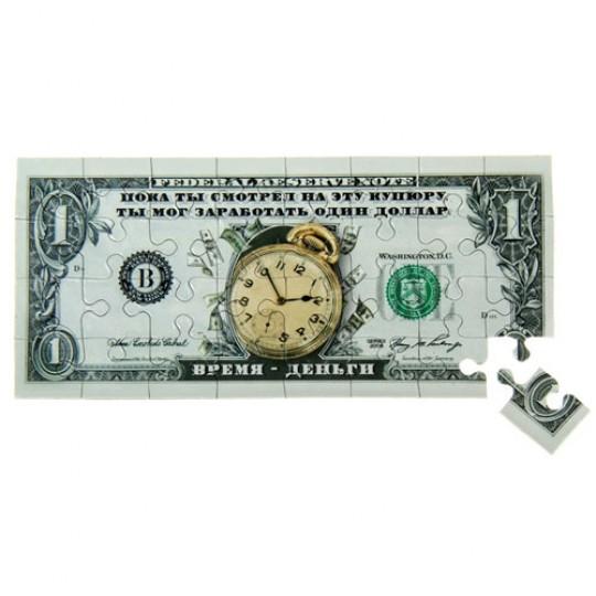 Магнит пазл купюра 1 доллар Время деньги